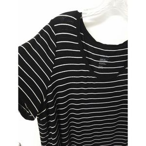 MichelStudio Black & White Long Scoop Neck Tee